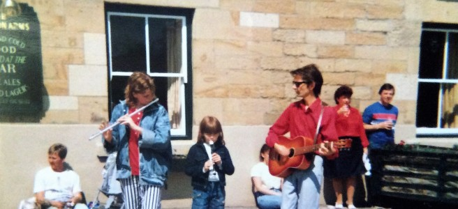 Photo of Me, cousin Helen & Dad Wilf playing this song outside the Blagdon Arms at the fair in the 1980s