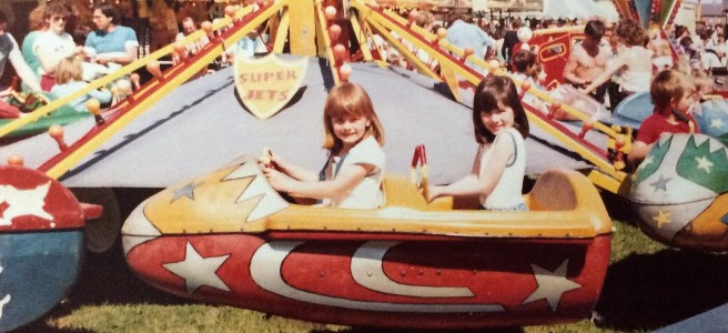 Photo of Me and my syster Pamela on the Super Jets at The Hoppings on the Town Moor in the 1980s