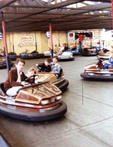 Photo of Wilf & Julia on the dodgems at The Hoppings in the 80s.