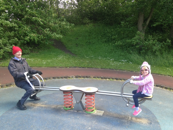 Wilf & Erin on a seesaw at Ridley Park